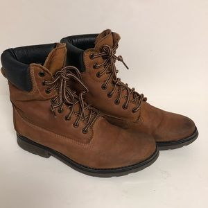 Steve Madden Leather Lace up Moto Boots Parley 10
